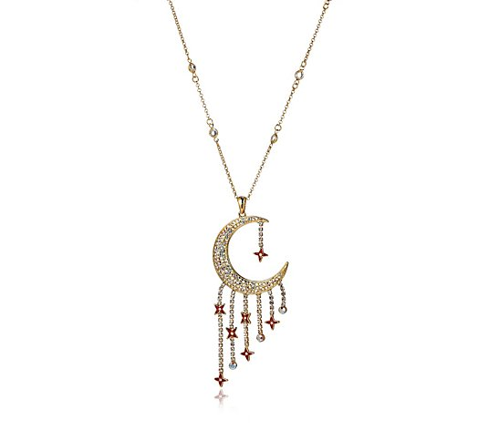 Butler & Wilson Crescent Moon with Star Drops 41cm Necklace