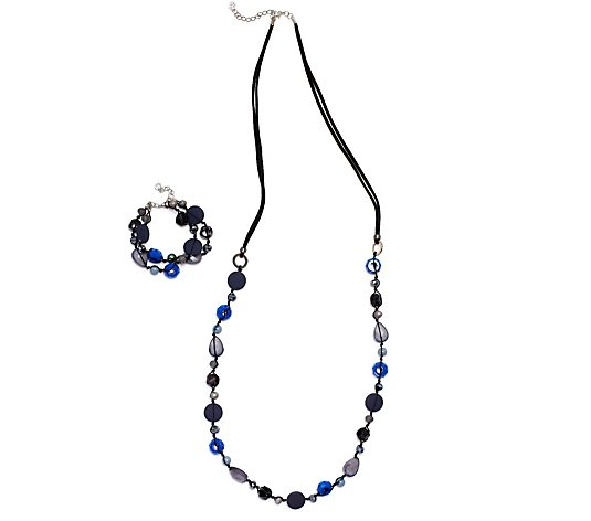 One Button Jewel Bead 96cm Necklace & Bracelet Set