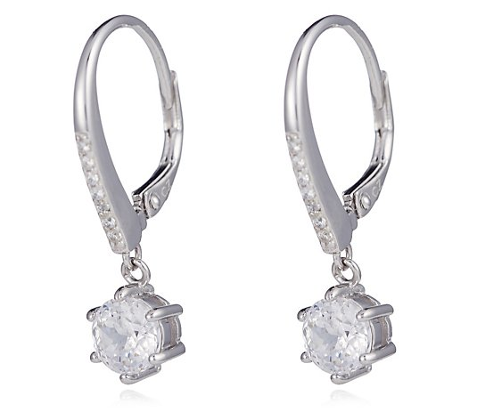 Diamonique 1.9ct tw 100 Facet Simulated Diamond Earrings Sterling Silver