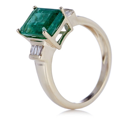 2.10ct Zambian Emerald Octagon & 0.23ct Diamond Tapered Baguette Ring 9ct Gold