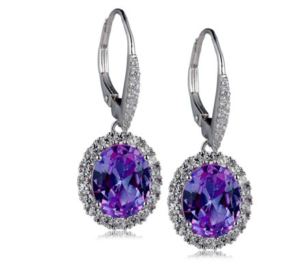 Michelle Mone Diamonique 6.86ct tw Simulated Sapphire Earrings Sterling Silver