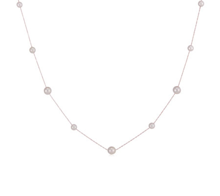 6-8mm Akoya CFW Pearl Station 45cm Necklace 14ct Gold