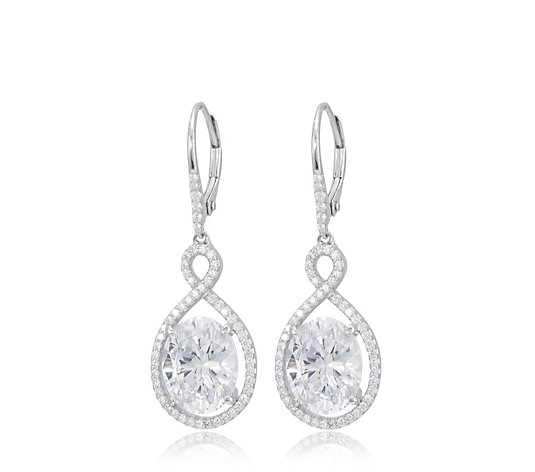 Diamonique 8.5ct tw Simulated Oval Leverback Earrings Sterling Silver