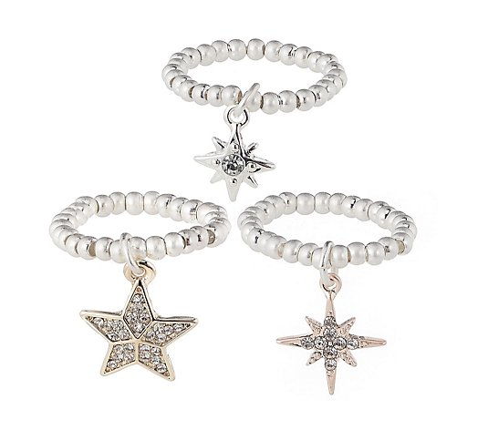 Kate Thornton for Bibi Bijoux 3 Row Mixed Star Stretch Ring