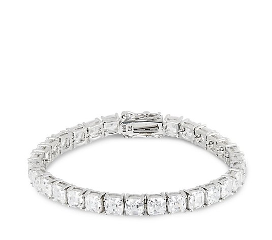 Diamonique by Tova 25ct tw Ascher Cut 19cm Tennis Bracelet Sterling Silver