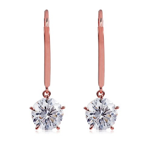 Diamonique 3ct tw 92 Facet Blossom Cut Leverback Earrings Sterling Silver