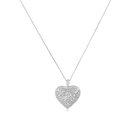 Diamonique Baguette Cut Heart 4.92ct tw Pendant Sterling Silver