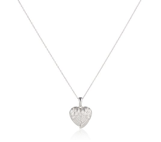 0.21ct Diamond Heart Angel Wings 45cm Necklace Sterling Silver