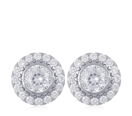 Diamonqiue 3ct tw 100 Facet Stud Earrings Sterling Silver