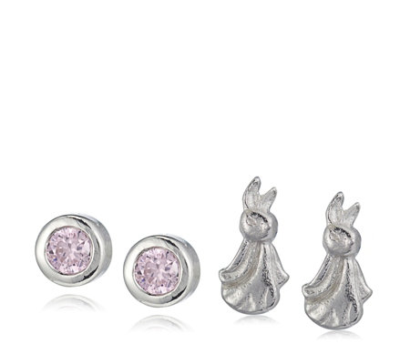 Beatrix Potter Peter Rabbit Set of 2 Stud Earrings Sterling Silver
