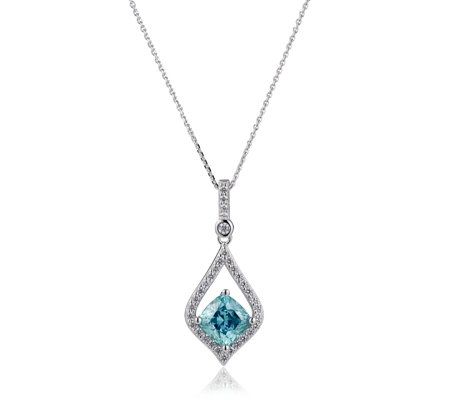 Diamonique 2.8ct tw Simulated Pariba Pendant & Chain Sterling Silver