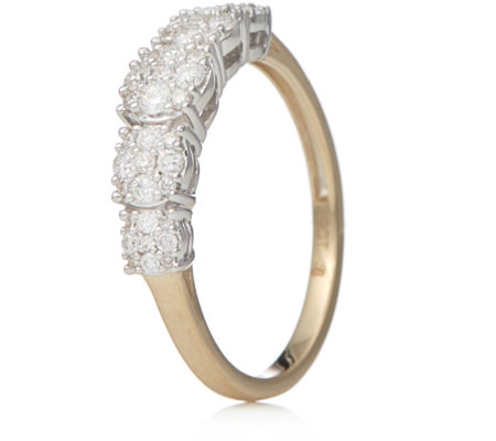 0.50ct Diamond Graduated Cluster Ring 9ct Gold