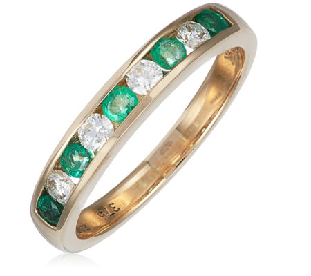 0.23ct Emerald & 0.22ct Diamond Channel Ring 9ct Gold