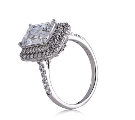 Michelle Mone for Diamonique 3.35ct tw Double Halo Ring Sterling Silver