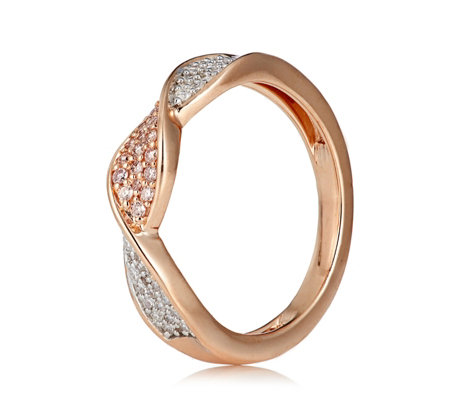 0.25ct Natural Pink & White Diamond Band Ring 9ct Gold
