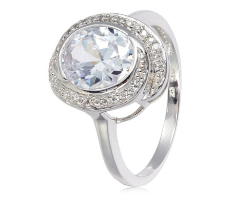 Diamonique 3.1ct tw Oval Twist Halo Ring Sterling Silver