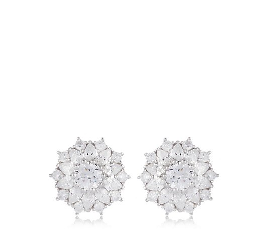 Diamonique 4.1ct tw Cluster Flower Stud Earrings Sterling Silver