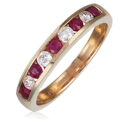 0.22ct Ruby & 0.22ct Diamond Channel Ring 9ct Gold