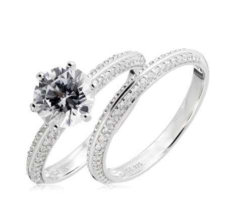 Diamonique 2.7ct tw Pave Ring Set Sterling Silver
