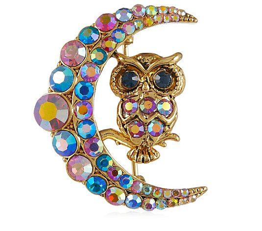 Butler & Wilson Crystal Owl in Moon Brooch