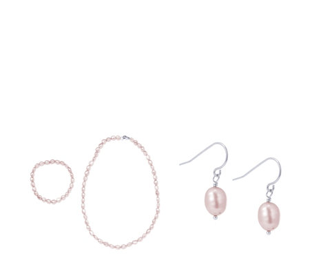 Honora Cultured Pearl Necklace, Earring & Bracelet Set Sterling Silver