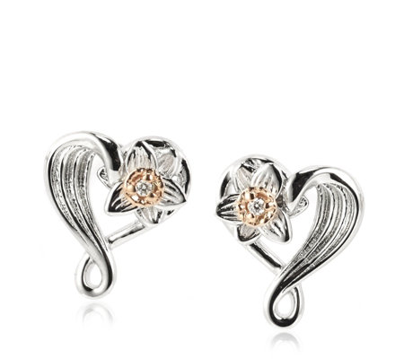 Clogau 9ct Rose Gold & Sterling Silver Daffodil Stud Earrings