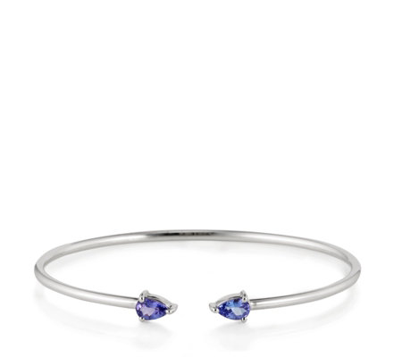 0.76ct AAA Tanzanite Pear Cut Torque Bangle 14ct Gold