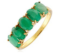 2.00ct Emerald 5 Stone Ring Sterling Silver - 340346