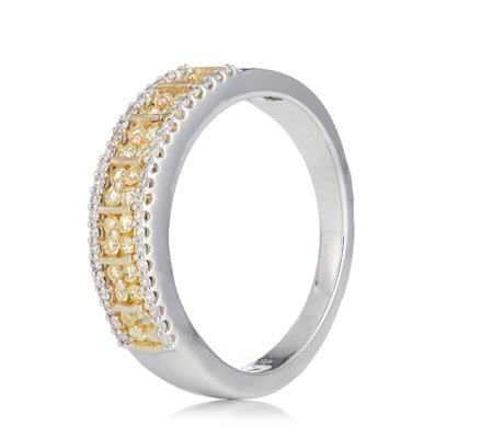 0.50ct Natural Pink or Yellow Diamond Band Ring 9ct Gold
