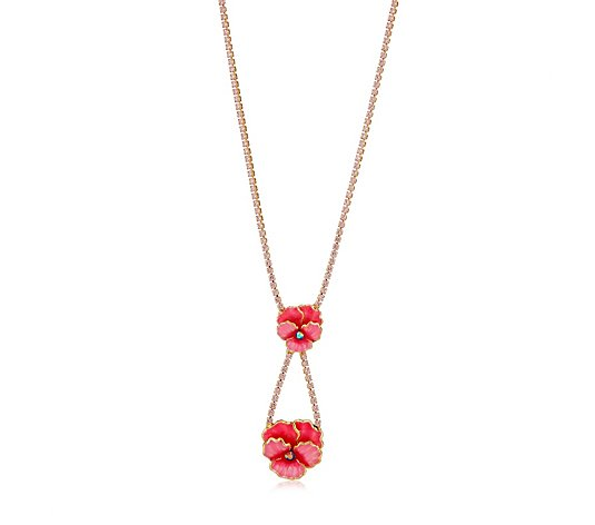 Butler & Wilson Double Drop Enamel Flower Necklace