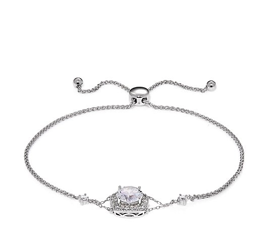 Diamonique 1.7ct tw Halo Friendship Bracelet Sterling Silver