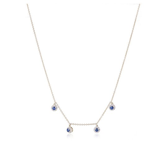 1.00ct Sapphire & 0.30ct Diamond Station 45cm Necklace 14ct Gold