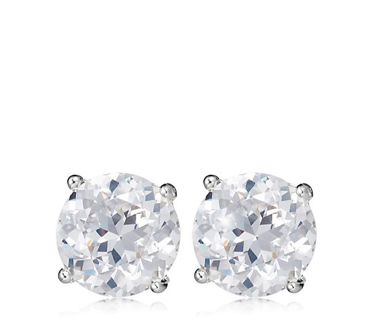 Diamonique 6ct tw 100 Facet Stud Earrings Sterling Silver