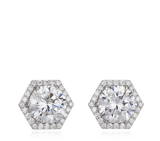 Diamonique 4.4ct tw Vintage Style Stud Earrings Sterling Silver