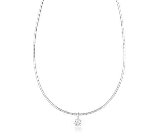 Diamonique 2ct tw Solitaire Omega Chain Necklace Sterling Silver