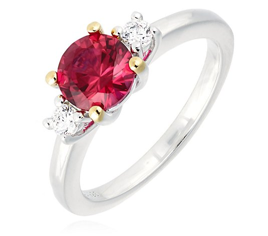 Diamonique 1.2ct tw Simulated Gemstone Trilogy Ring Sterling Silver