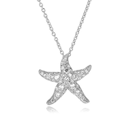 Elizabeth Taylor Simulated Diamond Starfish 46cm Necklace