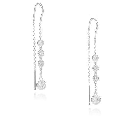 Diamonique 0.8ct tw 4 Stone Thread Through Earrings Sterling Silver