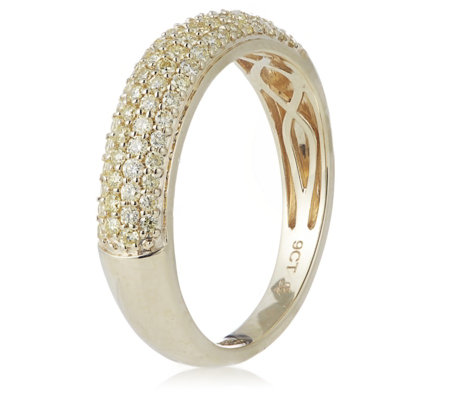 0.50ct Natural Yellow Diamond Pave Band Ring 9ct Gold
