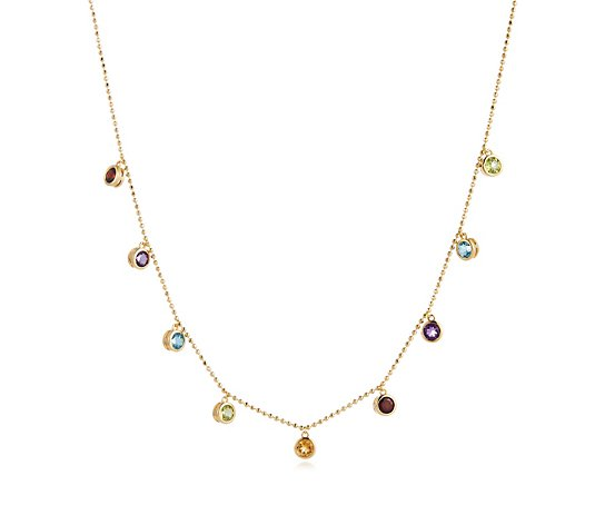 2.02ct Multi Gemstone 45cm Necklace Sterling Silver