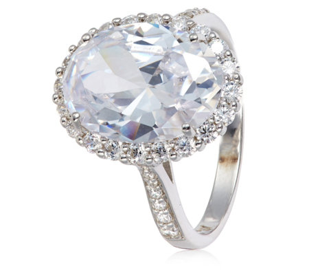 Michelle Mone for Diamonique 9.7ct tw Oval Halo Ring Sterling Silver