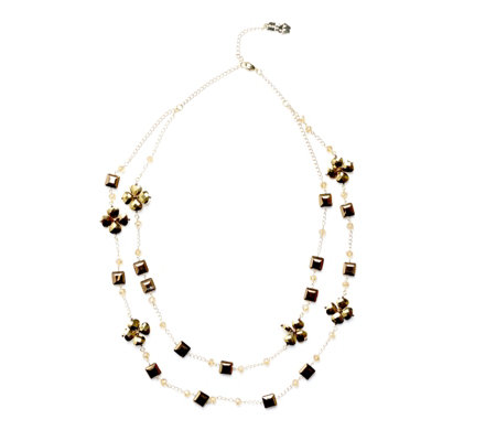 Butler & Wilson Glass Flower Multirow 75cm Necklace