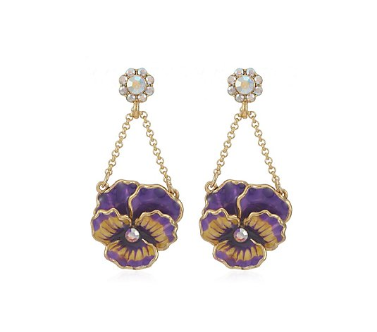 Butler & Wilson Enamel Flower Drop Earring