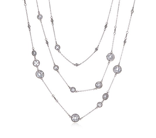 Butler & Wilson Three Chain Crystal Circles Necklace