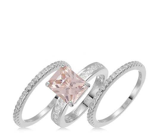 Diamonique 5ct tw Simulated Morganite 3 Rings Sterling Silver