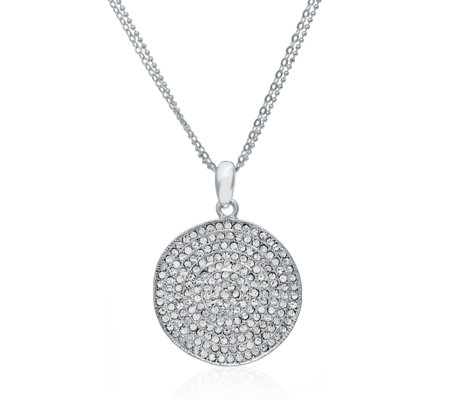 Loverocks Crystal Wave Round Pendant & 45cm Chain with Extender