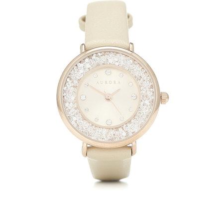 f5e1e3b8cb3d7 Aurora Swarovski Crystal Filled Watch with Leather Strap - QVC UK