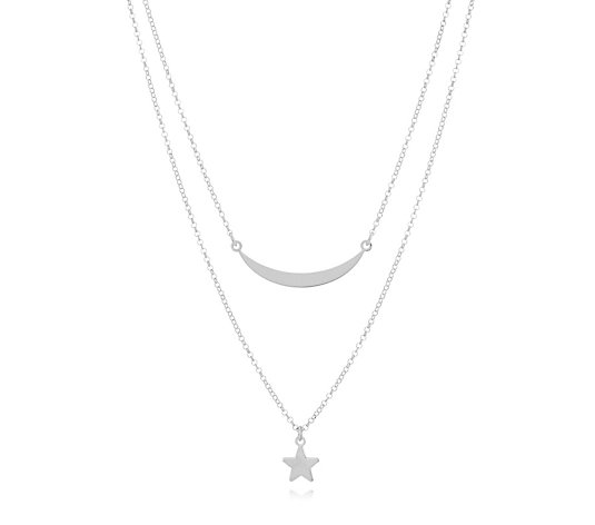 Italian Silver Star & Moon 42cm Necklace Sterling Silver