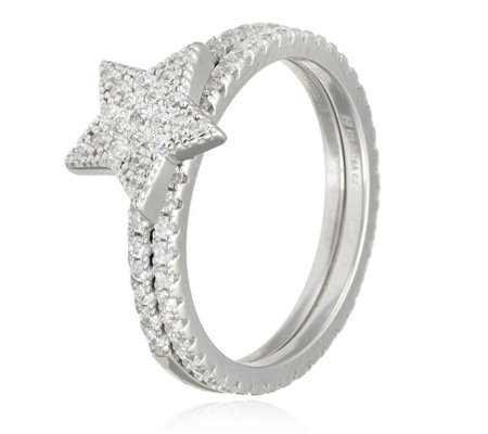 Diamonique 0.75ct tw Pave Star Ring Set Sterling Silver