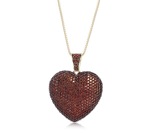 4.14ct Anthill Garnet Pave Heart 45cm Necklace Sterling Silver